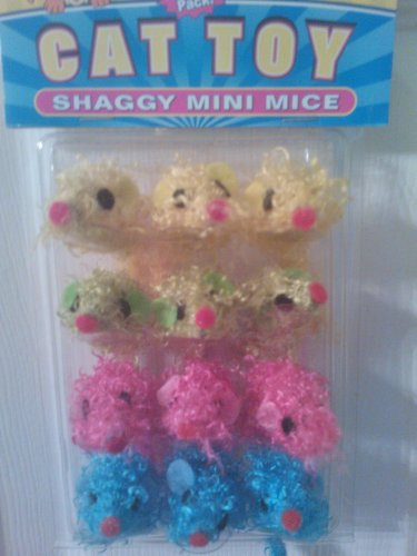 Vo-toys VIP 12-pack Shaggy Curly Mini Mice in Bright Vivid Colors!