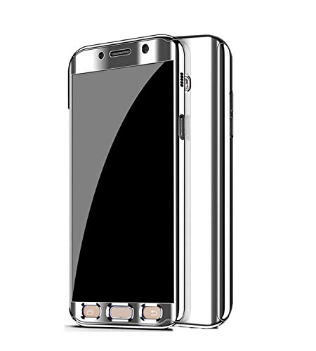 Coque Samsung Galaxy A5 2017 Placage PC Miroir Etui 2 en 1 360 Protection Intgrale Etanche Ultra Mince Anti-Rayures Anti-Choc Housse pour Telephone Galaxy A5 2017 Case Argent