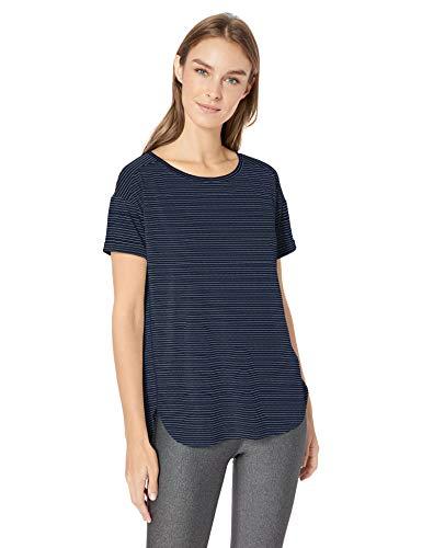 Amazon Essentials Women's Studio Relaxed-Fit Lightweight Crewneck T-Shirt, -navy stripe, Small