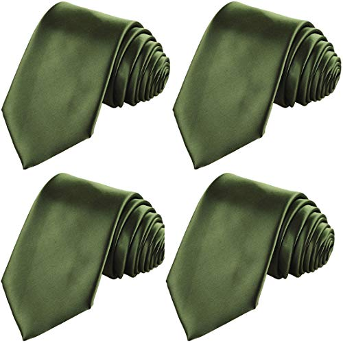 KissTies 4PCS Olive Green Satin Ties Solid Tie Set Wedding Neckties + 1 Gift Box by KissTies