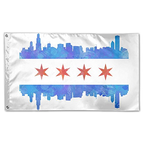 Chicago City Flag Garden Flag 3x5 FT For Indoor Or Outdoor Holiday Decorative Banner by Golden Ptlantic Trading