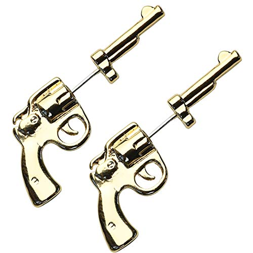 MIUPER BLOsssM Unisex Punk Hip Hop Rock Pop Cool Black Gun Pistol Stud Earrings for Women Men Girls Boys Teens (Gold)]()