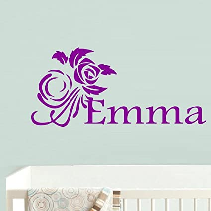 Wall decal decor decals art emma custom name inscription personalized word baby girl flower rose nursery