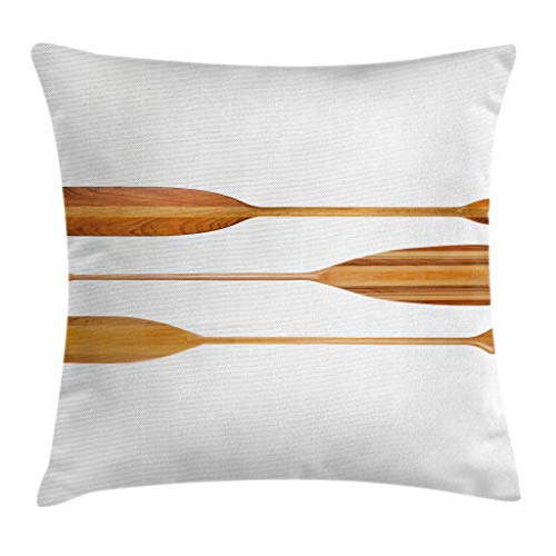Ambesonne Oar Throw Pillow Cushion Cover by, Traditional Wooden Canoe Paddles with Different Shape Exotic Sports, Decorative Square Accent Pillow Case, 18 X 18 Inches, Sand Brown