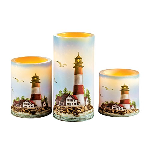Collections Etc Nautical Red and White Lighthouse Flameless LED Candles - Set of 3 -