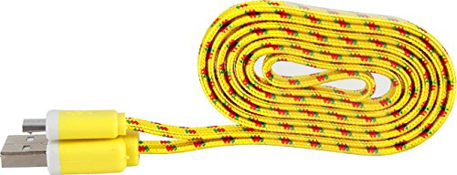 Rasta Single (mySimple [6' Feet - Single Pack] of Micro USB 2.0 Data Sync Charger Cable w/ Tangle Free Flat Noodle Braided Woven Rope Outer Jacket Made of Nylon w/ Rasta Design for Tablets & Phones {Yellow & Red))