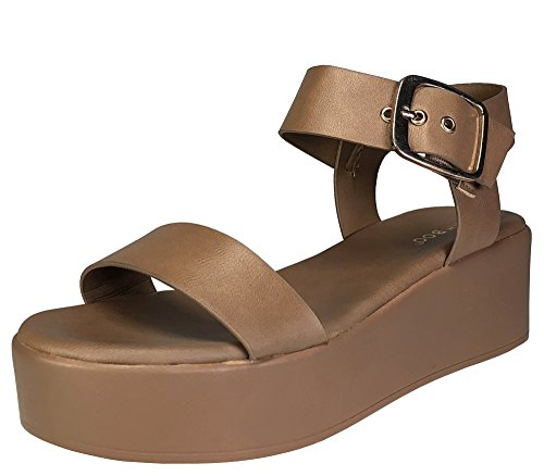 BAMBOO Women's Single Band Platform Footbed Sandal with Quarter Strap, Tan PU, 6.5 B (M) ()