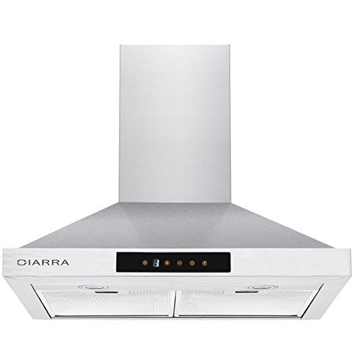 CIARRA Range Hood 30 Inch,3 Speeds,LED Lamps,Pyramid Style,Stainless Steel,Touch Control,Aluminum Filters,30