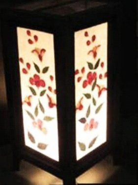 Thai Vintage Handmade ASIAN Oriental Table Lamp Chinese RED FLOWER LEAF  Style Art Bedside Table Lamp