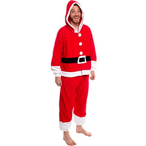 Silver Lilly Unisex Pajamas - One Piece Cosplay Holiday Santa Claus Costume (Womens Santa Suit)
