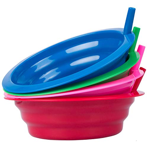 Cibi Kitchens set of 4 Cereal Bowl with Straws | BPA-Free 22 oz. Sip-a-Bowl | - 4 Bowls Cereal