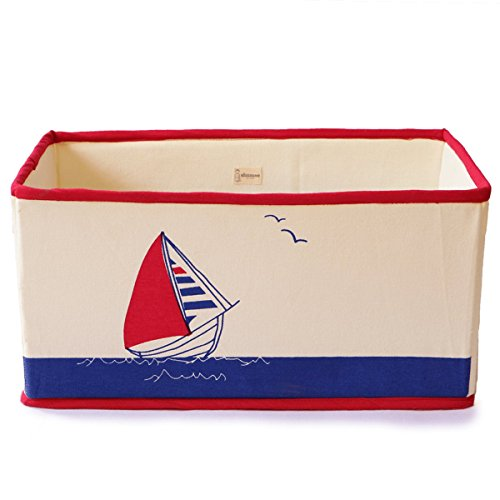 shumee-toys revisited Canvas Toy Storage Bin - Fold-able, Lined hardboard & Stack-able  (Sailboat Saver)
