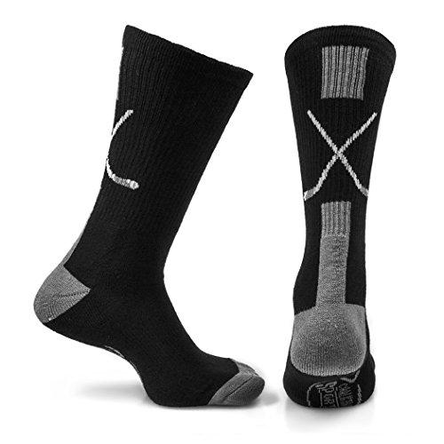 ChalkTalkSPORTS Athletic Half Cushioned Crew Socks | Mid Calf | Hockey Crossed (Hockey Crossed Sticks)