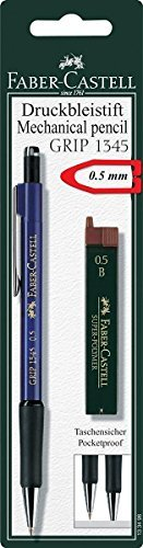 Faber-Castell Mechanical Pencil 0.5mm, Grip Druckbleistift Set, (1x Pencil, 12 Refill Leads B, in Sealed Blister Card)