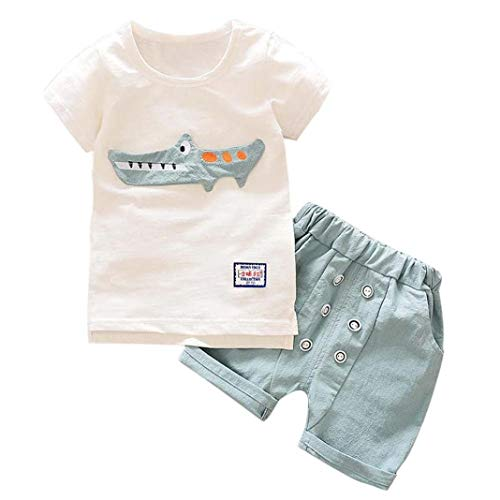 (Noubeau Summer Toddler Baby Boy Kids Cute Cartoon Print T-Shirt Buttons Shorts Set Outfits Clothes (White,)