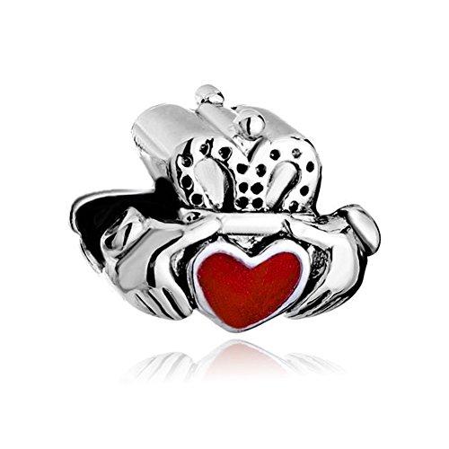 - ReisJewelry Heart Irish Claddagh Best Friend Charms Friendship Charm Bead For Bracelet (Best Friend Style 3)