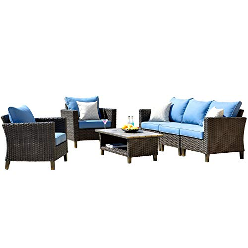 ovios Patio furnitue, Outdoor Furniture Sets,Morden Wicker Patio Furniture sectional with Table and Waterproof Covers,Backyard,Pool,Aluminum,Brown,Blue (6 Pieces, Brown Wicker + Blue Cushion) ()