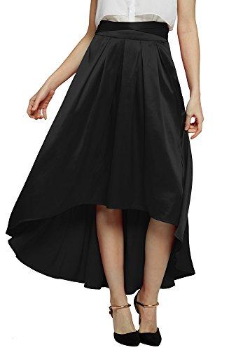Urban GoCo Mujeres Elegante Falda Plisada Con Cinturón Satín Faldas Larga para Fiesta Banquete Negro