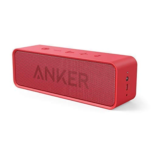Anker SoundCore 24-Hour Playtime Bluetooth Speaker with 10W Limited Output, Stereo Sound, Rich Bass, 66 ft Bluetooth Range, Built-in Mic. Portable Wireless Speaker for iPhone, Samsung, and More – Red
