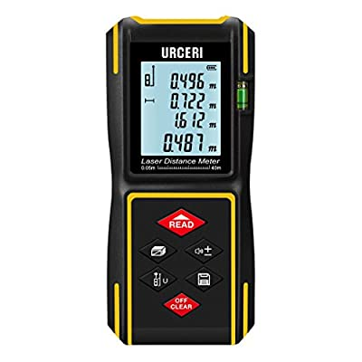 URCERI Laser Measure 131ft, Digital Laser Distance Meter with Mute Function,LCD Backlit Display and Bubble Levels, Measure Distance,Area and Volume,Pythagorean Mode Battery Included Black&Yellow