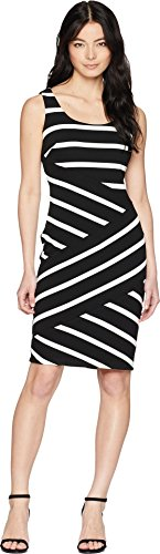 Adrianna Papell Women's Ottoman Striped Sheath, Black/Ivory, 10