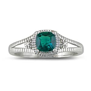 Sterling Silver Created Emerald and Diamond Ring, Available Ring Sizes 5-8, Ring Size 9.5 (3/4 cttw)
