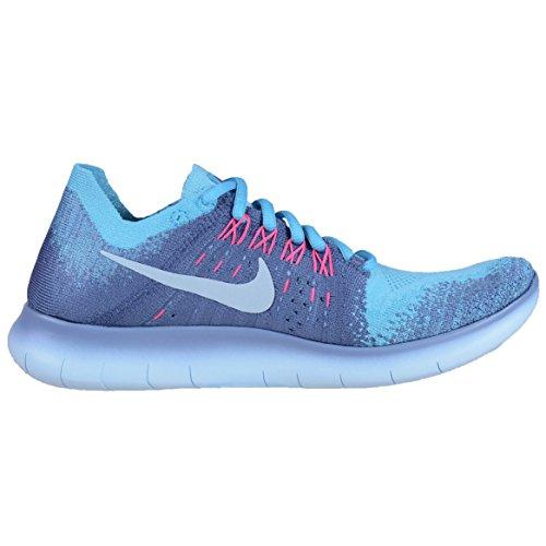 Nike Womens Free Rn Flyknit 2017 Scarpa Da Corsa Lavoro Blu / Scuro Ossidiana-cloro Blu