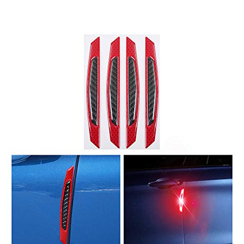 LEIWOOR Glossy Slim Soft Real Carbon Fiber w/Super Reflective Blue Strips Car Side Door Edge Bumper Anti-Scratch Protection Guards Trim Stickers Universal Fit Car SUV Pickup Truck, Etc 4PCS (Red A)