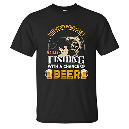 Bee-Viral Walleye Fishing Shirts for Men Funny Fishing T-Shirt (Black - 2XL)