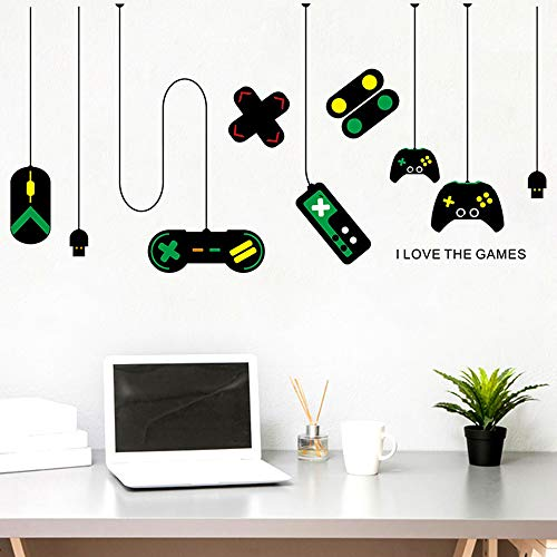 huangliao Gamer Wall Stickers Decor,I Love The Games Gaming Controller Joystick Playroom Bedroom Living Room Removable Vinyl Art Mural Decals for Boys Kids Men (Game)