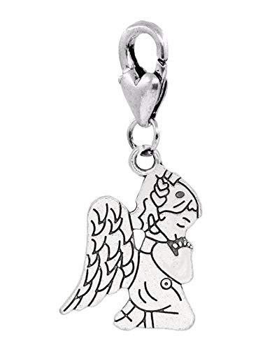 Praying Angel Charm - Praying Angel Little Girl in Pajamas Clip Dangle Charm for Traditional Bracelets Crafting Key Chain Bracelet Necklace Jewelry Accessories Pendants