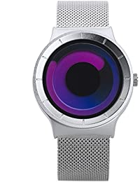 Stylish Mens Watches Silver Purple Quartz Wrist Watch with Unique Design and Stainless Steel Milanese Mesh