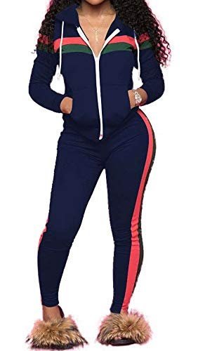 TOP-MAX Women 2 Pieces Tracksuit Ladies Zipper Playsuits Sportswear Strip Hooded Zip up Sweatshirt Hoodies + Pants Trousers
