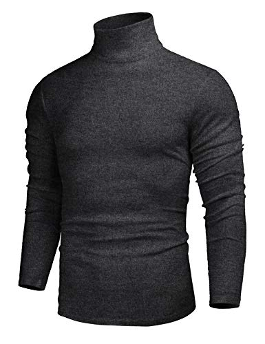 - poriff Mens Casual Slim Fit Basic Tops Knitted Thermal Turtleneck Pullover Sweater Dark Grey M