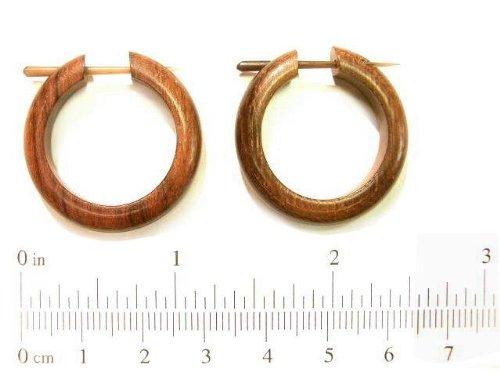 Natural Carved Sono Wood Hoop Organic Earrings Wooden Hoops Pair Handmade Brown