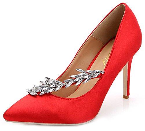 Toe Low Shoes Aisun Heels Stiletto Red Women's On Pointed Court Slip Top Rhinestones High SZnIwEnTxq