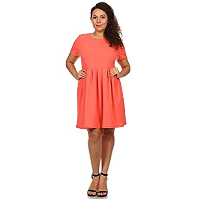 Womens Knit Fit and Flare Crew Neck Pleated Bottom Plus Size Dress - Made in USA