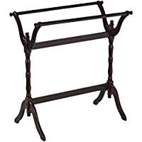 Quilt Rack Made of Solid Wood In Cherry Finish With Horizontal Rails For Hanging Quilts and Comforters Organize and Storage Now