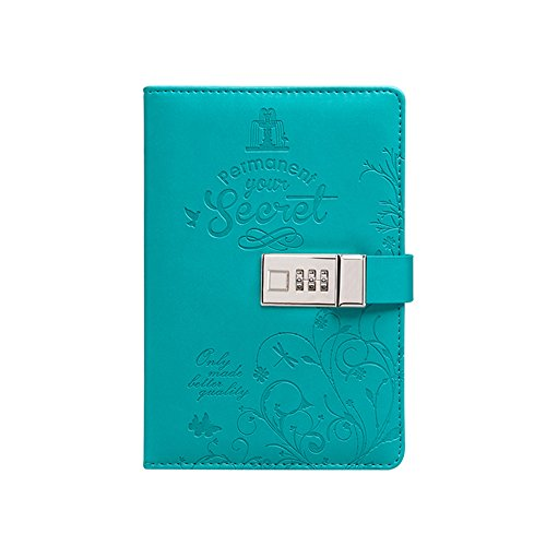 SAIBANG PU Leather Journal Writing Notebook, Fashion Daily Notepad with Combination Lock, Card Slots, Pen Holder, B6 Size Password Diary for Men and Women (Blue)