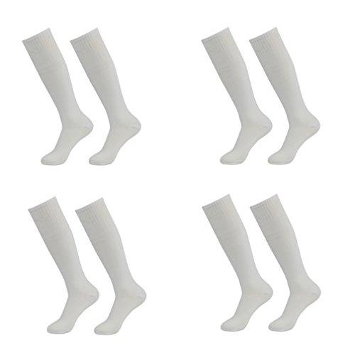 Red Tube Socks Youth, LANDUNCIAGA Men's Field Knee-High Soccer Sport Team Tube Socks Long Stocking Football Sox White 4 Pairs
