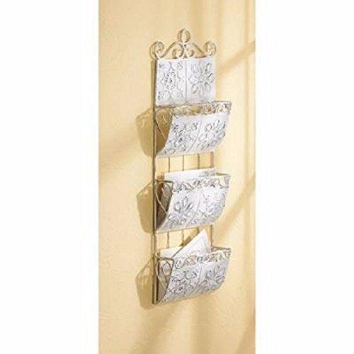 Classic White Letter Mail Organizer Hanging Wall Storage Rack Home Decor