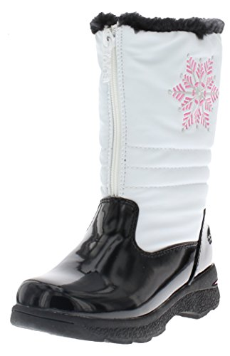 Totes Girl's Juno Snow Boot, Kid's White Snow boot | Wide Calf winter boots for Kids Size - 2