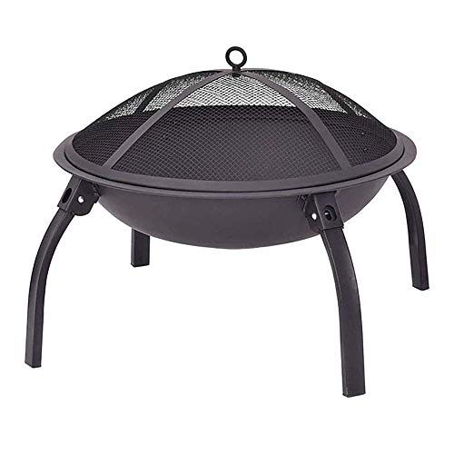 Zichen Camping Firebowl with Grill, Folding Legs - Black