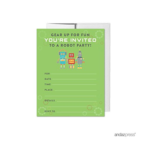 Scrapbook Birthday Invitations (Andaz Press Robot Birthday Collection, Blank Invitations with Envelopes, 20-pack)