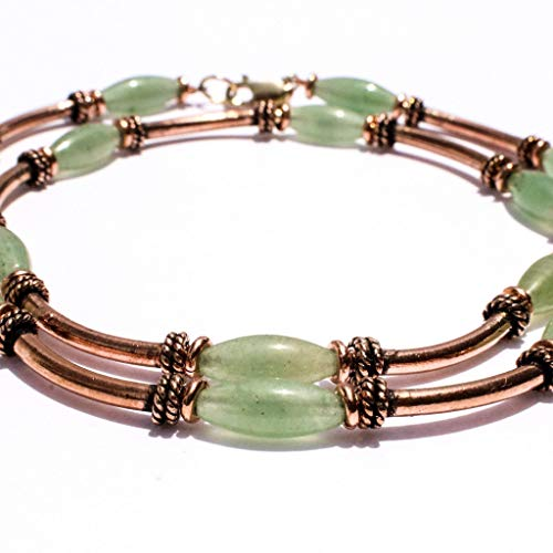Copper Necklace with Green Stones 7th Year Anniversary Gifts for Her by Simple Graces Jewelry