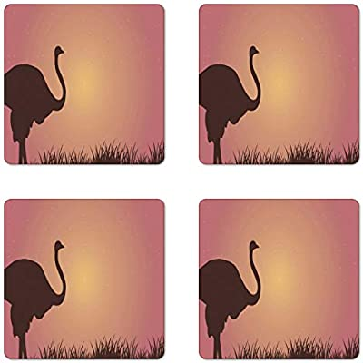 Funny Ostrich Personalised Drinks Mat Coaster