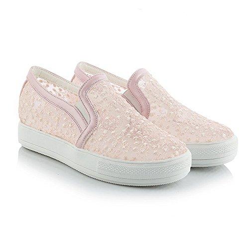 AgooLar Damen Ziehen auf Rund Zehe Niedriger Absatz Blend-Materialien Rein Pumps Schuhe Pink