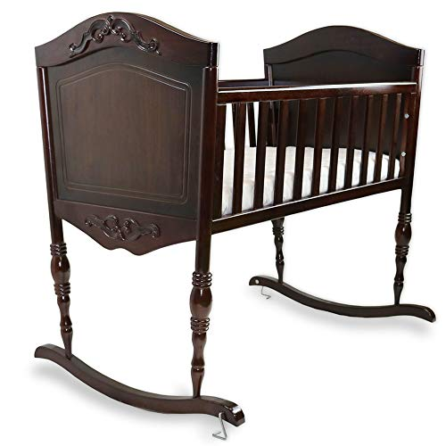 Green Frog, Antique Espresso Cradle Handcrafted Elegant Wood Baby Cradle Premium Pine Construction Rocking and Stationary Features