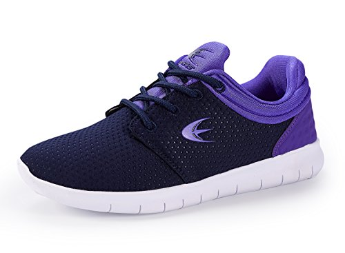 Ezywear Women's Walking Shoes Navy Purple Breathable Textile Lightweight Casual Running Shoes 7.5
