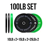 Color Bumper Plate Sets/Virgin Rubber w/Steel Insert/Low Odor + Dead Bounce/Crosffit, Olympic Weightlifting, Strength Training Equipment (100)